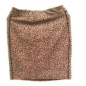 Ann Taylor Women Size 4 Brown Black Leopard Skirt